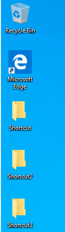 This the Microsoft windows desktop with shortcut folders - showing these 10 keyboard shortcuts keys